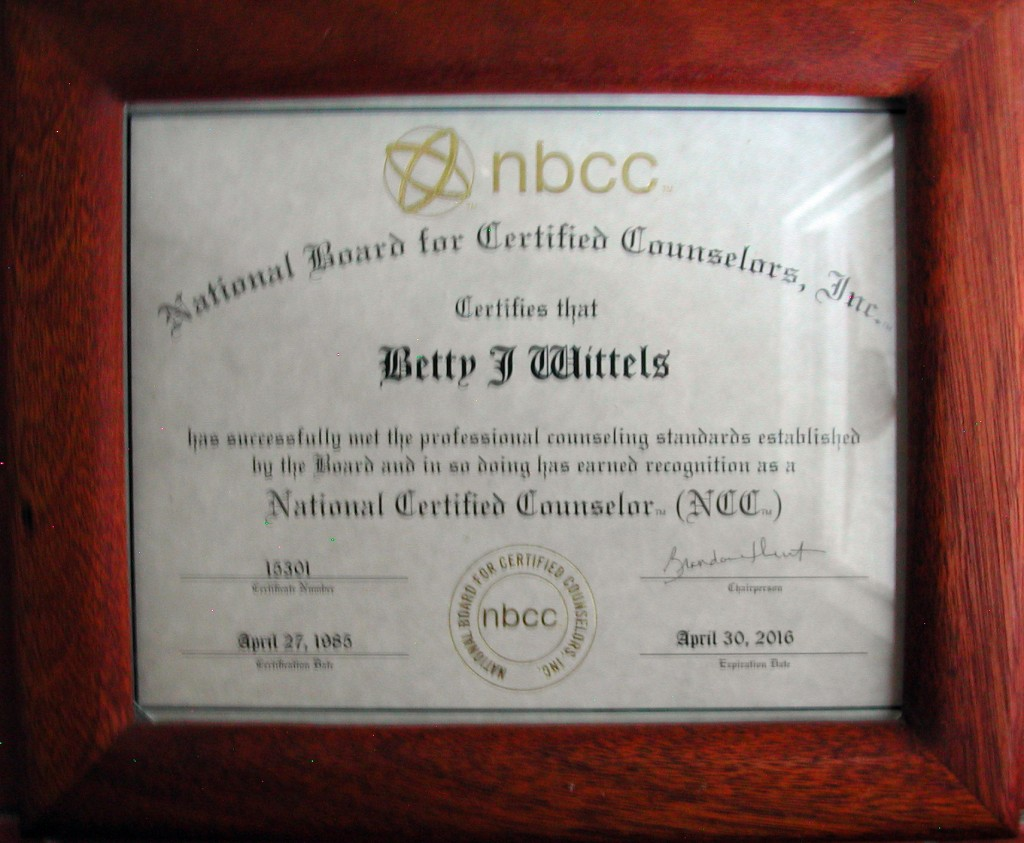 National Board for Certified Counselors Certificate