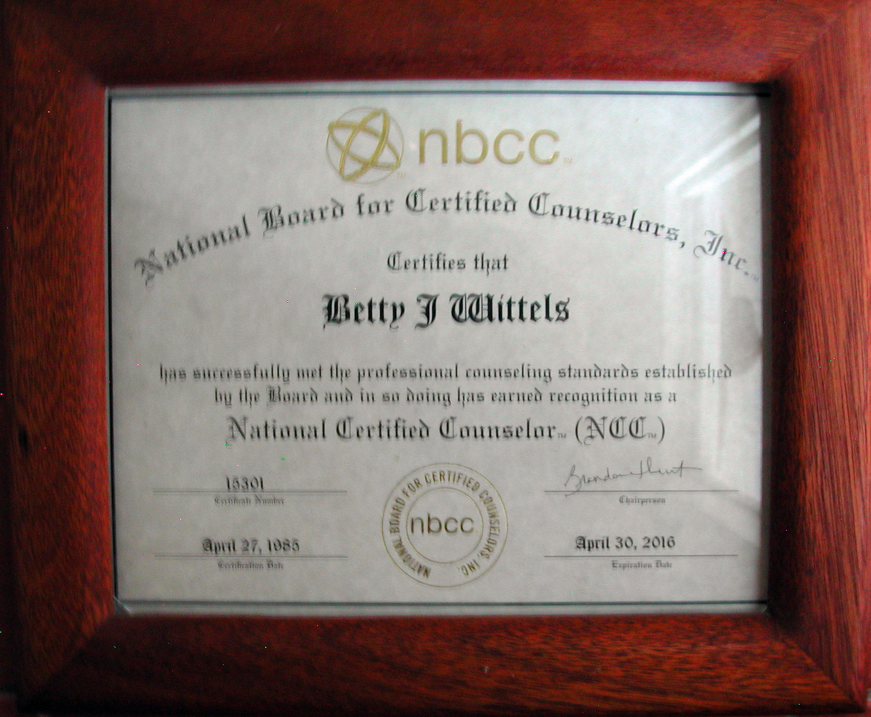 Z certificates betty j wittels licensed professional counselor national board for certified counselors certificate xflitez Choice Image