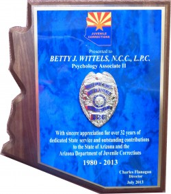 Award of Appreciation AZ Dept of Juvenile Corrections